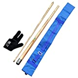 Combo of Snooker and Bridge Cue with Cue Cover,Glove