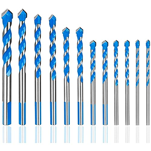 kengbi Easy to Install and Use Industrial Drill Bits 12 Pcs Masonry Drill Bits Set m to 12mm Carbide Twist Tips for WALL, BRICK, CEMENT, CONCRETE, GLASS, WOOD Have Industrial Str (Color : Blue)
