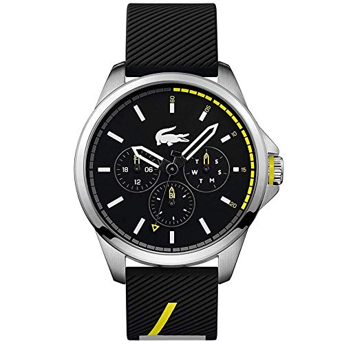 Lacoste Stainless Steel Japanese Quartz Watch with Rubber Strap, Black, 22 (Model: 2010978)
