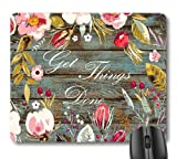 7AN.M Get Things Done Inspirational Quote Mouse Pad, Motivational Quotes on Rustic Wood Vintage Floral Wreath Art Flowers Leaves Print Mouse Pads