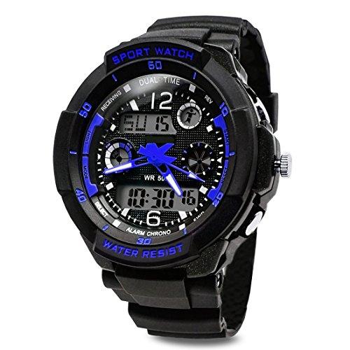TOPCABIN Jungen Uhren Mädchen Kinder Armbanduhr Digital Analog Wasserdicht mit Wecker/Timer/LED-Licht,Elektronische Stoßfest Handgelenk Sports Uhren für Jungen Uhr Blau