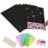 WOWOSS Kratzbilder Set für Kinder,Kratzpapier Set, 50 Große Blätter Regenbogen Kratzpapier zum Zeichnen und Basteln mit Schablonen, Holzstiften und Stickern (26 x 19cm) -