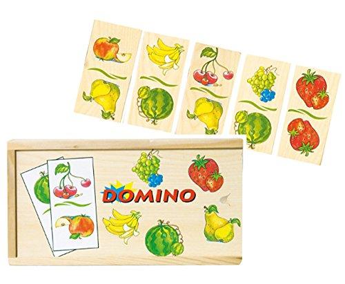 alles-meine.de GmbH Legespiel / Lernspiel - Holz Domino - Früchte / Obst & Gemüse - Holzdomino - Essen Lernen - Holzspielzeug - Banane, Obst, Erdbeere - üben - Erinnerung