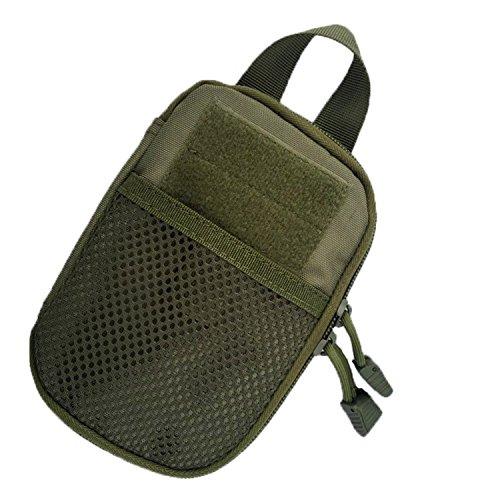 Sac ceinture de ruifu extérieur tactique Molle EDC Camping Randonnée Sac à main Pochette Téléphone Portable, Vert militaire