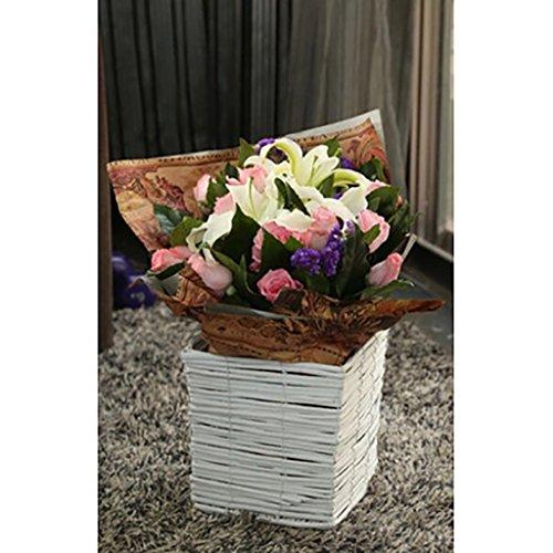 FZN Pot rotin Fleur Panier tissé Fleur Pot Vase paniers de Fleurs Baril rétro Fleur de siège créatif Pots de Fleurs (Couleur : #2, Taille : 21 * 21cm)