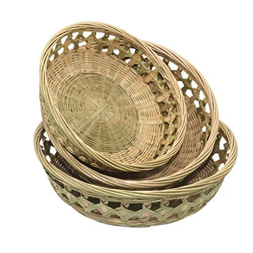 Suading Cesta de almacenamiento tejida a mano con placa de bambú para alimentos, con recorte redondo para frutas, bocadillos, caja de almacenamiento de escritorio, 22+25+27 cm