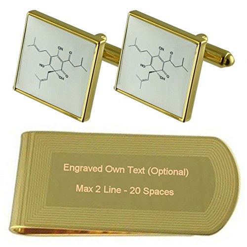 Select Gifts Molecola di birra scienza Gold-tone gemelli denaro inciso Clip Set regalo