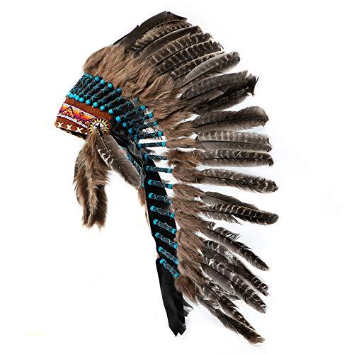 Pink Pineapple Traditioneller Indianer-Kopfschmuck handgefertigt im traditionellen Stil Nordamerikanischer Indianer - Kostüm- Braun und Blau