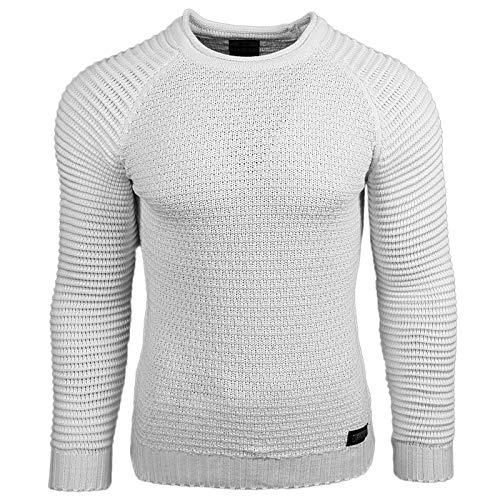 Rusty Neal Strickpullover Pullover Unifarben RN-13318, Größe:XXL, Farbe:Weiß