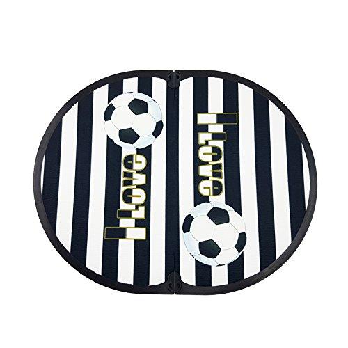 Fit Feet Soccer Mania - Tappetino poggiapiedi spogliatoio Fuori Doccia - a Tema Club Sportivo (Bianco Nero)