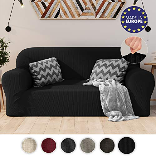 Dreamzie Stretchy Sofa Cover 2 seater Black - Certified Chemical-Free, Recycled Cotton Sofa Cover - Protects Sofas from Stains - Elasticated Sofa Cover Made in Europe