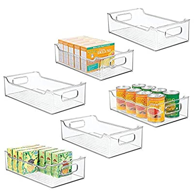 """mDesign Wide Stackable Plastic Kitchen Pantry Cabinet, Refrigerator or Freezer Food Storage Bin Box Basket Tray with Handles - Organizer for Fruit, Yogurt, Snacks, Pasta - 14.5"""" Long - 6 Pack - Clear by MetroDecor"""