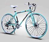 Hombres y mujeres bicicleta de montaña carretera adultos de alto carbono marco de acero bicicleta carreras doble disco freno 27 velocidades bicicleta-27 velocidad 40 cuchillo