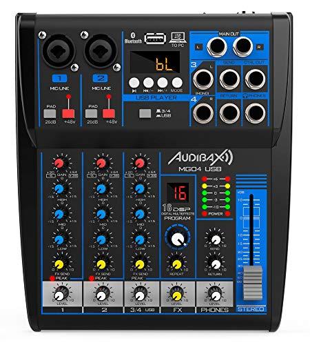 Audibax MG04-USB - Mesa de Mezclas con 4 canales, con Conexión Bluetooth, Reproductor MP3 y Entrada USB Rec, Mesa Dj con Efectos, Indicador LED, Mesa Mezclas con Varios Controles