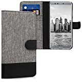 kwmobile Hülle kompatibel mit Huawei Honor 9 Lite - Kunstleder Wallet Hülle mit Kartenfächern Stand in Grau Schwarz