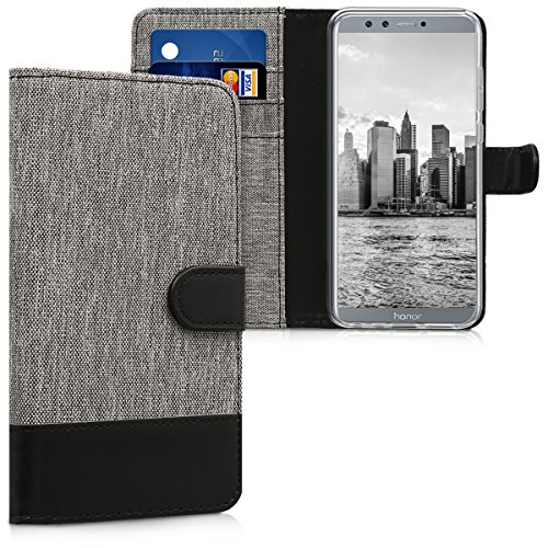kwmobile Wallet Hülle kompatibel mit Honor 9 Lite - Hülle Kunstleder mit Kartenfächern Stand in Grau Schwarz