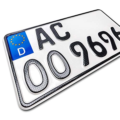 schildEVO 1 Carbon Kfz Kennzeichen | 255 x 130 mm | Motorrad & Roller | Traktor | Leichtkraftrad | Anhänger | Motorrad-Nummernschild | Saison