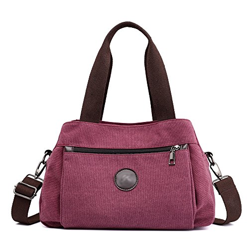 Hiigoo Women's Casual Totes Bag Shoulder Bag Canvas Handbags 3-open Crossbody Bag Messenger Bag (Red)