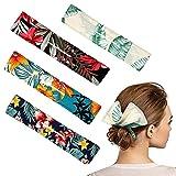 4 Fabricantes de Moño Hábiles Clip de Moños de Pelo Reutilizable Flexible de Tela Herramienta de Peinado de Moños Giratorios Decoración Banda de Diseño de Pelo (Patrón de Hojas y Flores)