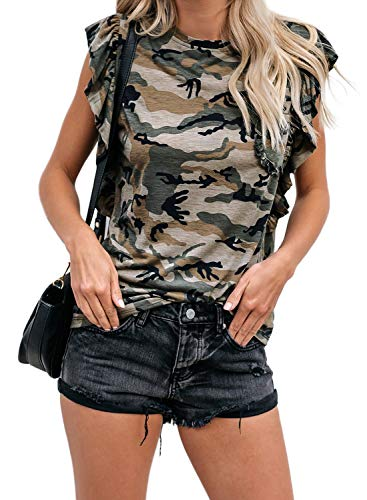 Lovezesent Womens Summer Sleeveless Camou T Shirts Casual Slim Fit Pockets Camouflage Ruffle Tank Tops for Juniors Green Large