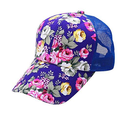 aijofi Damen Mesh Baseball Cap Unisex Trucker Baseballkappe Hat Floral Drucken Visor Cap Waschbar Atmungsaktiv Sonnenhut Schirmmütze Kappe