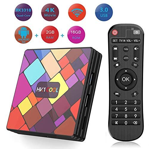 HK1 Cool Smart TV Box Android 9.0 OS 2GB RAM 16GB Flash RK3318 BT Dual WiFi 2.4G/5G Support Full HD 1080P H.265 4K Android Media Player: Amazon.es: Electrónica