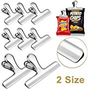 Whaline Stainless Steel Chip Clips Set, 4.7'' & 3'' Chip Bag Clips Heavy Duty Food Clips Round Edge Air Tight Seal Grip for Office Kitchen Home Usage Storage (2 Large and 6 Small Size)