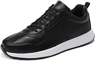 XUJW-Shoes, Mens Soft Fashion Fitness Training Sneakers for Men Athletic Sports Shoes Lace Up Synthetic Leather Antislip Waterproof Durable Comfortable (Color : Black, Size : 8 UK)
