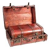 Baúles de madera marrón de estilo vintage, 2 unidades.