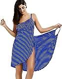 HSWYJJPFB Poncho Surf Bikini Cover Up para Mujer Traje de baño Sexy Spaghetti Strap Backless Fashion Stripe Wrap Beach Dress Plus Size Towel Robe 0207(Color:Blue;Size:3XL-3XLarge)