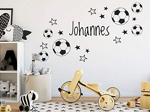 GRAZDesign Wandtattoo Fussball mit Name Kinderzimmer, Geschenk für Junge, Fussballbälle Ball, personalisierte Fußball Geschenke für Kinder / 100x57cm / Schwarz