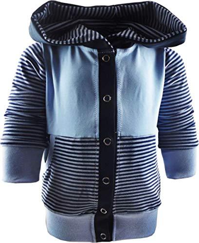 KLEINER FRATZ gestreifte Baby/Kinder Kaputzen Jacke mit Bauchtasche (Farbe blau-Marine/hellblau) (Größe 66/76)