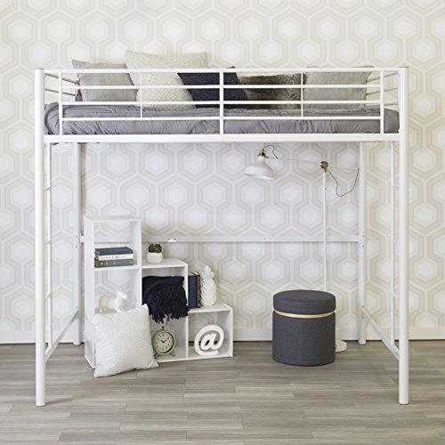 Full Size Loft Bed-White Metal Finish