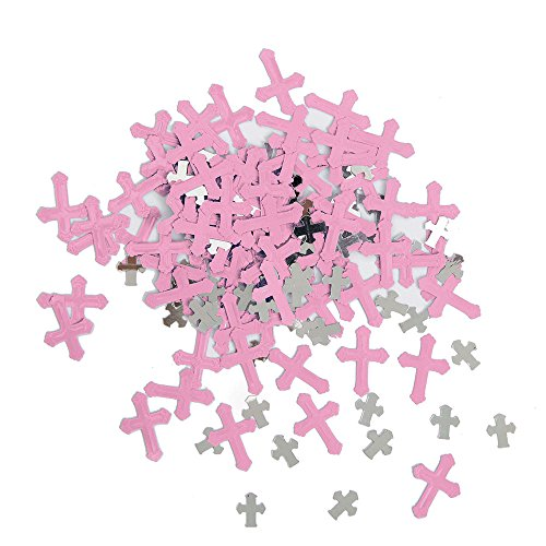 Unique Party - Confeti Metálico - Diseño Religioso Cruzado Radiante - Color Rosa (43790)