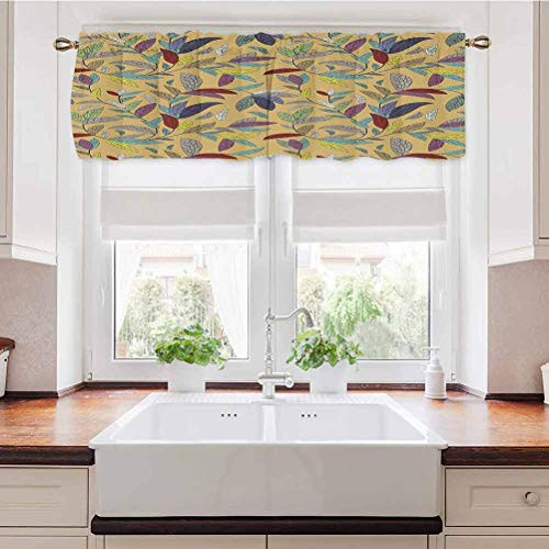 Adorise Window Curtain Valance Sketchy Hand Drawn Plants Leaves Swirls Nature Themed Khaki Backdrop Print Room Darkening Window Valance for Bedroom, Living Room, Kitchen 56 x 14 Inch