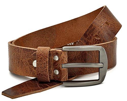 Fa.Volmer Marrone Cintura 100% pelle di bufalo, 40 mm di larghezza e circa 3-4 mm di spessore, accorciabile, cintura in pelle, per abito uomo, jeans, Gbr00020 (waist size (Bundweite) 125cm)