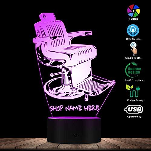 Lámpara de ilusión 3D Luz de noche LED Silla de peluquería antigua Diseño de silla para peluquería Nombre Escritorio personalizado Barber Ing Decoración