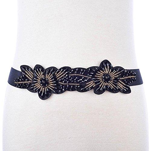 SZH&BELT Frauen-Imitation Kristall-elastischer Bund Kleid Dekoration Gürtel , navy blue
