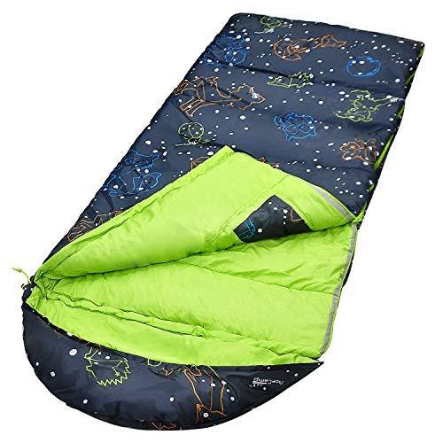 AceCamp Kinder-Schlafsack, leuchtet im Dunkeln, für Kinder und Jugendliche, tragbarer, wasserabweisender Kinder-Schlafsack, Temperaturbereich: -1 °C, für Camping, Wandern, Schlummerparty