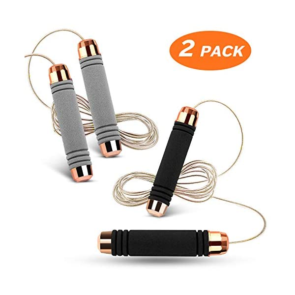 Zocy 2 Pack Jump Rope for Workout and Fitness, Comfortable Foam Handle Jumping ropes...
