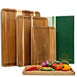 Wood Cutting Boards Set of 4 for Kitchen with Juice Groove and...
