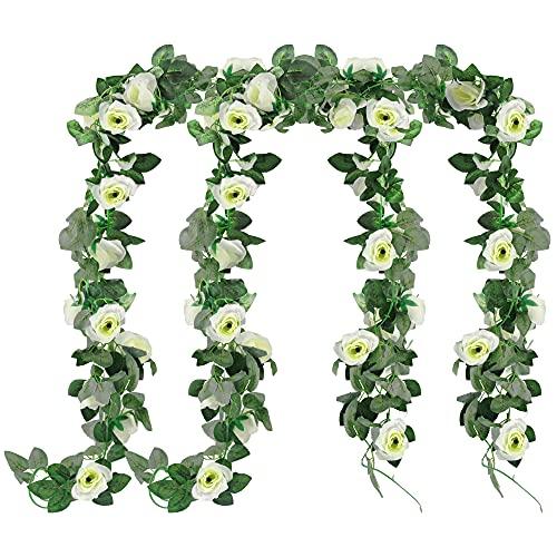 4 Stück Rose Girlande Weiß Blumengirlande Kunstblumen, Grünen Blättern für Hochzeit Party Haus Garten Dekoration Künstliche Rosen Girlande Blumengirlande Rosen, Hängend Rebe für Party Garten Dekor