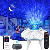 ZumYu Proyector de Luz Estelar, LED de Luz Nocturna Giratorio, Lámpara de Nocturna Estrellas y Océano, Color Reproductor de Música, con Bluetooth/Temporizador/Remoto