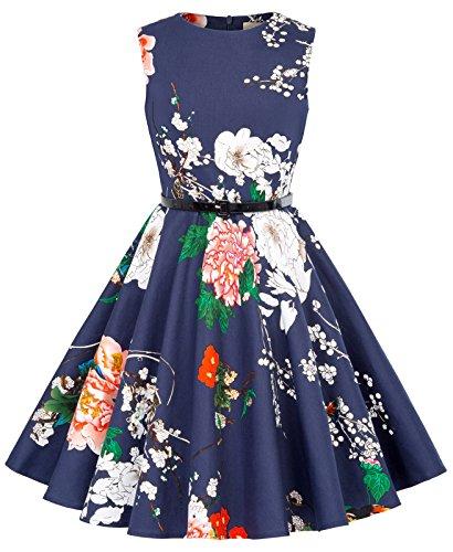 Vestido Vintage Estampado de Niñas Años 50 para Fiesta Cóctel Vestido Algodón de Verano sin Mangas con Cinturón 13 Años KK250-24