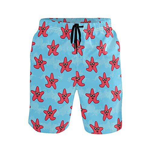 BONIPE Herren Badehose Funny Cartoon Seestern Muster Quick Dry Boardshorts mit Kordelzug und Taschen Gr. Verschiedene Größen, mehrfarbig