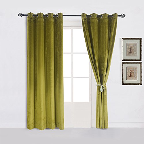 Cherry Home Super Soft Luxury Velvet Moss Green Thermal Blackout Curtain Panel Drapes Grommet Draperies Eyelet 52Wx96L inch Green Yellow,2 Panels for Living Room