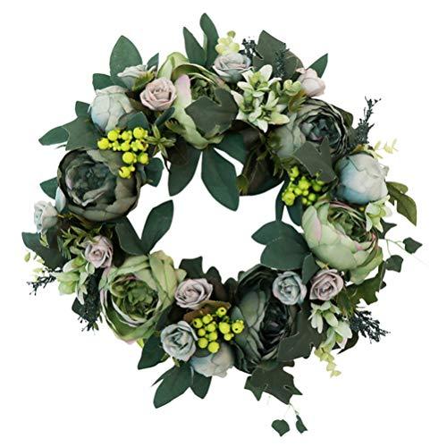 PRETYZOOM Kunstmatige Bloem Krans Groene Bladeren Garland Pioen Rotan Plant Voordeur Thuis Ophangende Bruiloft Decoratie voor Wandraam