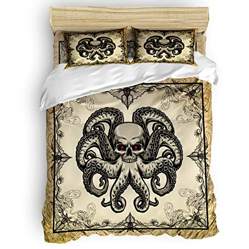 Edwiinsa 4 Piece Bedding Set Twin Size Comforter Cover for Boys, Halloween Skull and Octopus Soft Polyester Microfiber - Shrink & Fade Resistant Kid's Duvet Cover Sets, Spider Web Floral Frame