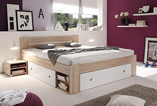 lifestyle4living Kojenbett 140x200cm, Eiche Sonoma Dekor, Weiß, mit Kopfteil, 3 Bettschubladen, Regalen und 2 Nachttischen | Doppelbett für hohen Schlaf-Komfort