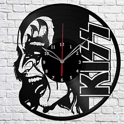 Kiss Vinyl Record Wall Clock Fan Decor Art Decor Original Gift Unique Decorative Vinyl Clock Black 12